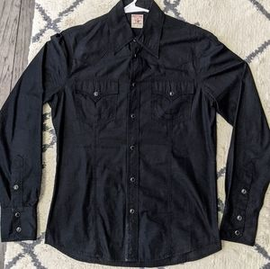 NWOT - True Religion Black Denim Western Shirt
